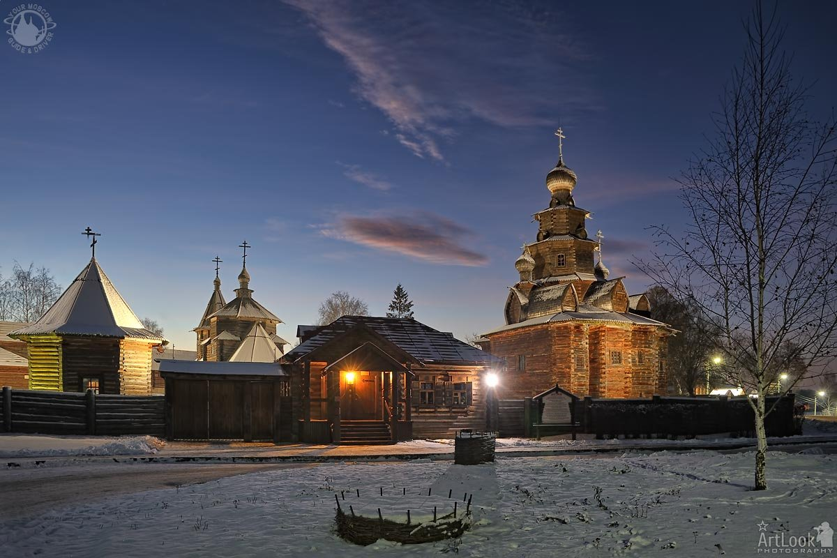 = Wooden Architecture Museum Framed by Birch Tree in Winter Twilight =  Winter tours to Suzdal - the Gem of the Golden Ring of Russia    #WoodenArchitecture #churches #Russia #Suzdal #twilight #winter #WoodenChurches #GoldenRingOfRussia #winter #WinterTours