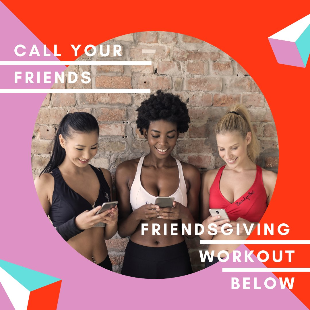 Friendsgiving Workout! Stay fit for the holidays together! Dont forget to warm up, cool down & stretch. Do 15 of each 3x through High Knees Squats  Lunges Bridges Russian Twists Push ups  Burpees Shoulder Taps  #fitspo  #fitnessmotivation  #Friendsgiving  #workout  #unplugged2020