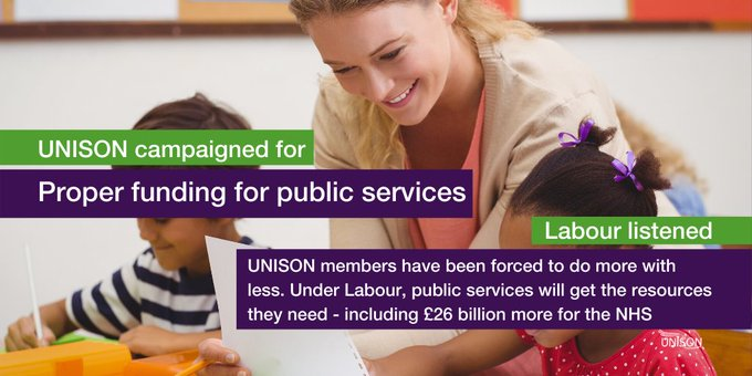 Teach with two school children. Text overlay: UNISON campaigned for proper funding for public services. Labour listened. UNISON members have been forced to do more with less. Under Labour, public services will get the resources they need - including £26 billion more for the NHS