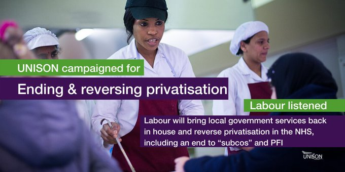 "Public service kitchen workers with text overlay: UNISON campaigned for Ending & reversing privatisation. Labour listened. Labour will bring local government services back in house and reverse privatisation in the NHS, including an end to ""subcos"" and PFI"