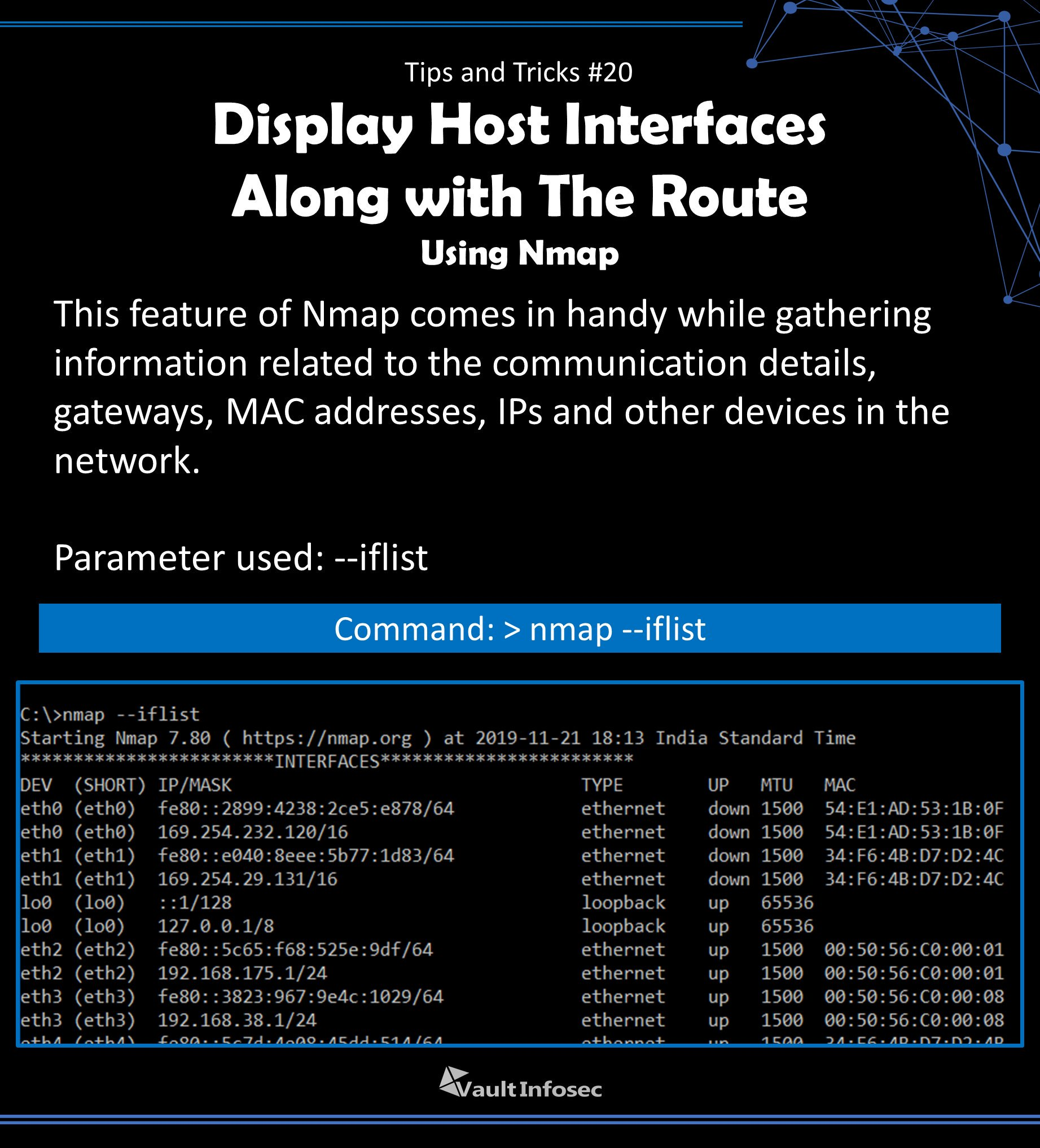 "Vault Infosec on Twitter: ""Display interfaces and routes of the host  machine using nmap. #cybersecurity #nmap #informationsecurity  #informationtechnology #security #vaultinfosec #wevowyoursecurity  #networkscanning #Hackers #interfaces #route ..."