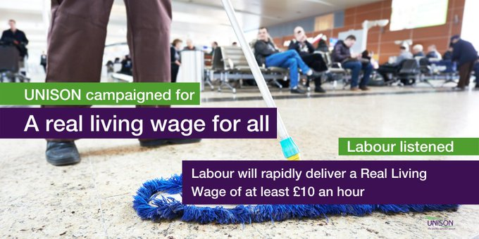 Person mopping the floor with text overlay: UNISON campaigned for a real living wage for all. Labour listened - Labour will rapidly deliver a Real Living Wage of at least £10 an hour