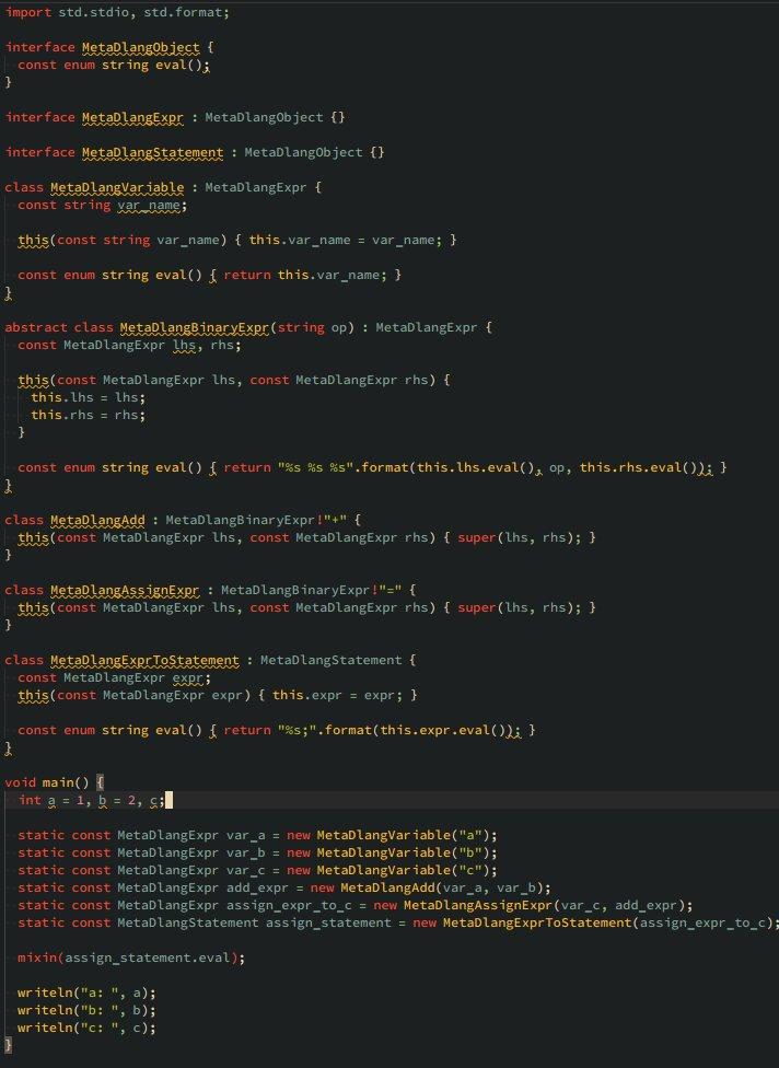 今書いているコードはこんな感じ(D言語の文法を表すクラスをつくれば、MetaDlangのクラスをつかってASTがかけるわけで...(ん?俺今何がしたいんだ?)コード: