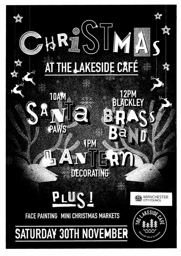 Join @LakesideCafeBHC for the Charlestown Christmas Event on Sat 30th Nov from 10am 🎄 Therell be lots of fantastic festive activities including: 🐾 Santa Paws 🎺 Blackley Brass Band 🏮 Lantern Decorating Plus lots more, get involved! 🎅 @ManCityCouncil