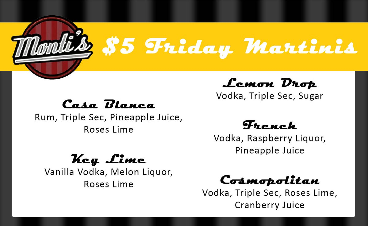 5 Martini Options Each for just $5 All day Friday! #drinkspecial https://t.co/YXu9m6icBU