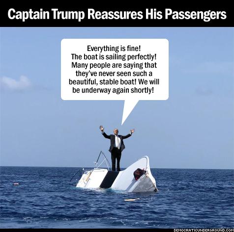 Captain Trump reassures his passengers