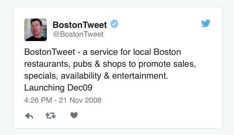 11 years ago today I started BostonTweet as a way to create awareness for local business during the recession. 11 years! A lot has changed since 2008...except my avatar. #ForeverYoung twitter.com/bostontweet/st…