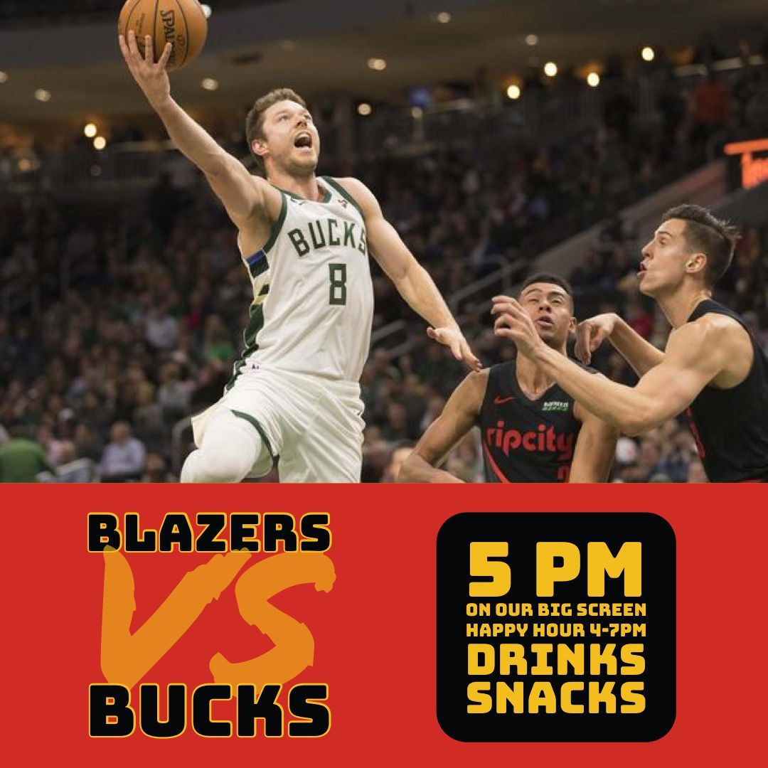 Our boys take on the Bucks tonight at 5... come watch with us on the big screen! Snack, drinks, vegan options, and happy hour prices from 4-7pm. #RIPCITY BABY!