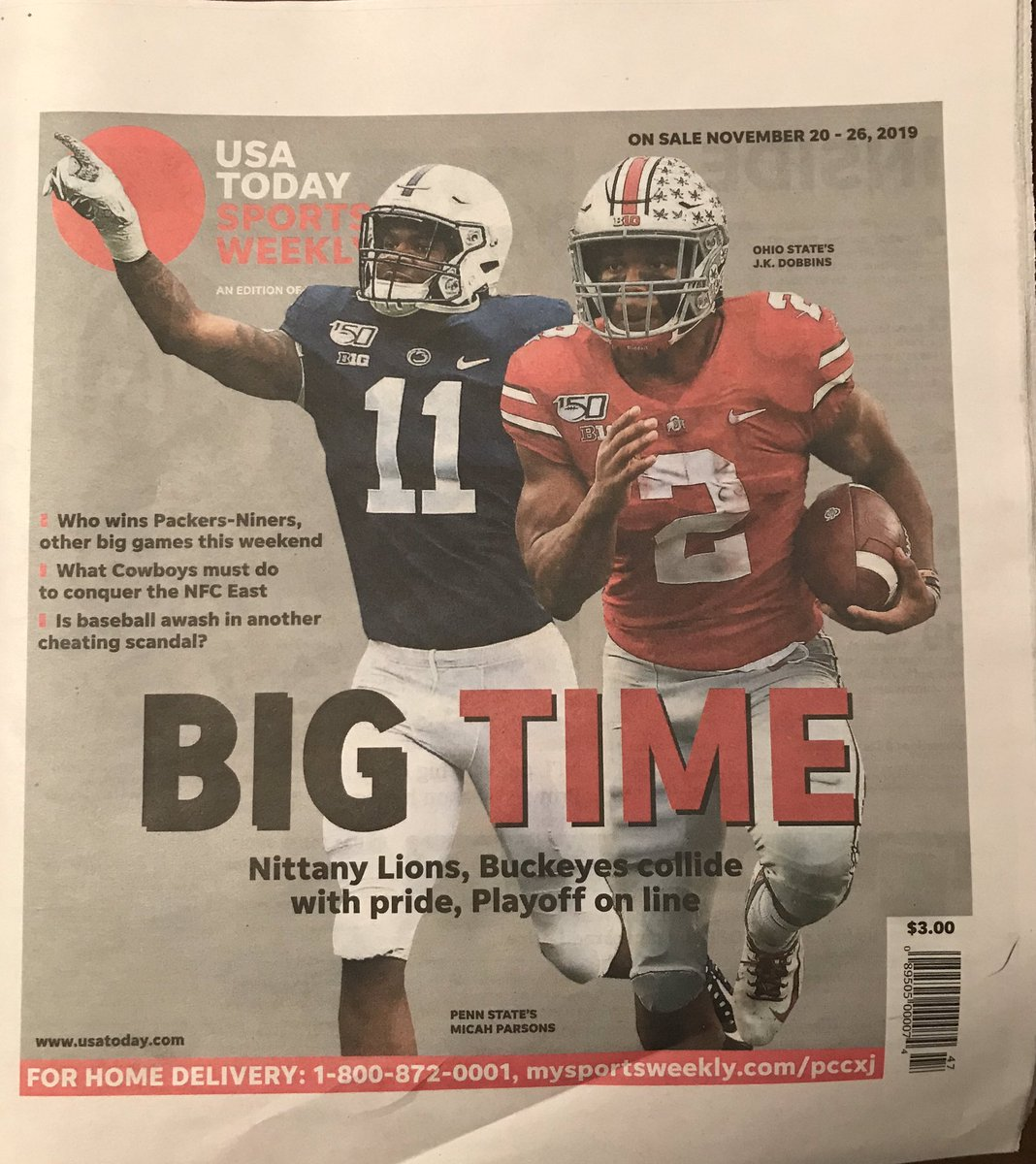 Thankful for the opportunity to write another cover story for USA Today Sports Weekly @OhioStateFB #OSU @Buckeyes
