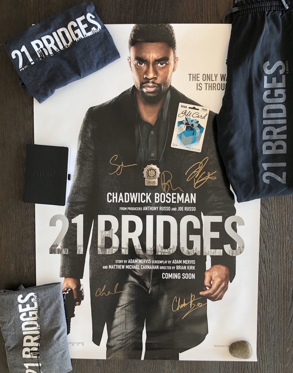 Today is Nov 21 & I'm hiding a #21Bridges prize pack somewhere in Boston; cast autographed poster, $100 Visa gift card, 21 shirts & sweats Brush up on your Boston bridge history to be the first one to find the prize & win 21 Bridges is in theaters Friday youtu.be/qaZoSTG10lw
