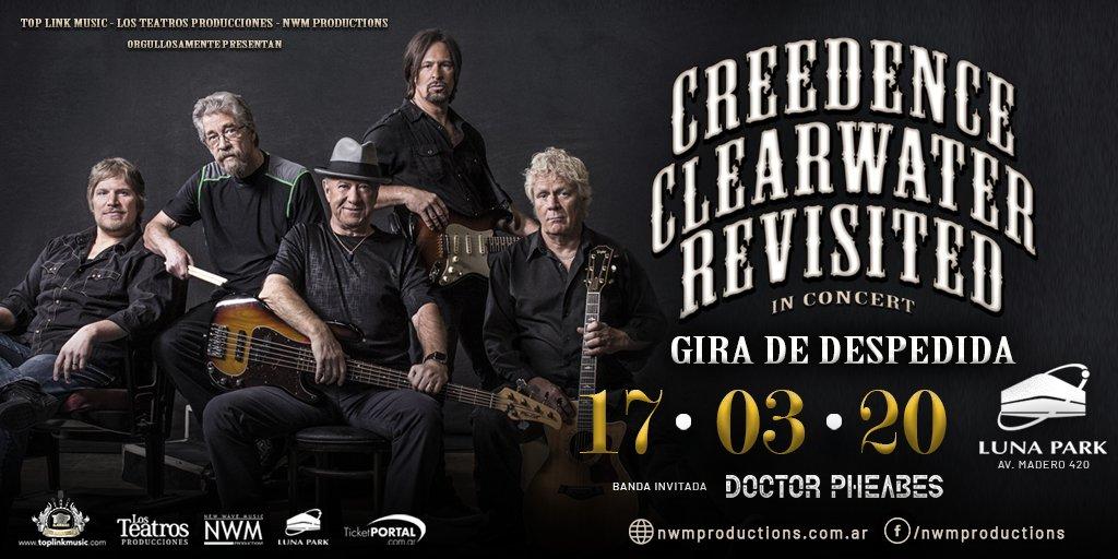 ¡Creedence Clearwater Revisited vuelve al #LunaPark, 17 de marzo 2020! Las entradas se pondrán a la venta a partir de hoy a las 20 hs. por sistema Ticketportal, y a partir de mañana en boletería del estadio, saludos! #Creedence