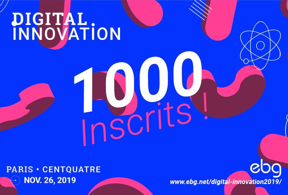 Ça y est ! 1000 inscrits pour notre événement #Digitalinno2019 au @104paris 🙌  Il est encore temps de vous inscrire 👉 https://t.co/5MKHONLWjy  Retrouvez la liste des participants et le programme complet 👇 https://t.co/SxGmHp5f8C  #EBG #Innovation #Digital https://t.co/8OVquDTMwa