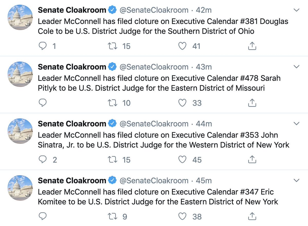 Wow. As Judiciary Committee was voting on some troubling nominees, @senatemajldr just moved forward on EIGHT more Trump judicial picks.  Two refused to say #BrownvBoard was correctly decided. And then there's Sarah Pitlyk, whose record is disturbing in so many ways.  Be outraged.