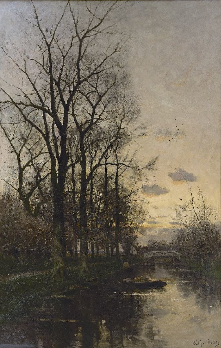 Gardener boat at sunset, Fredericus Jacobus van Rossum du Chattel