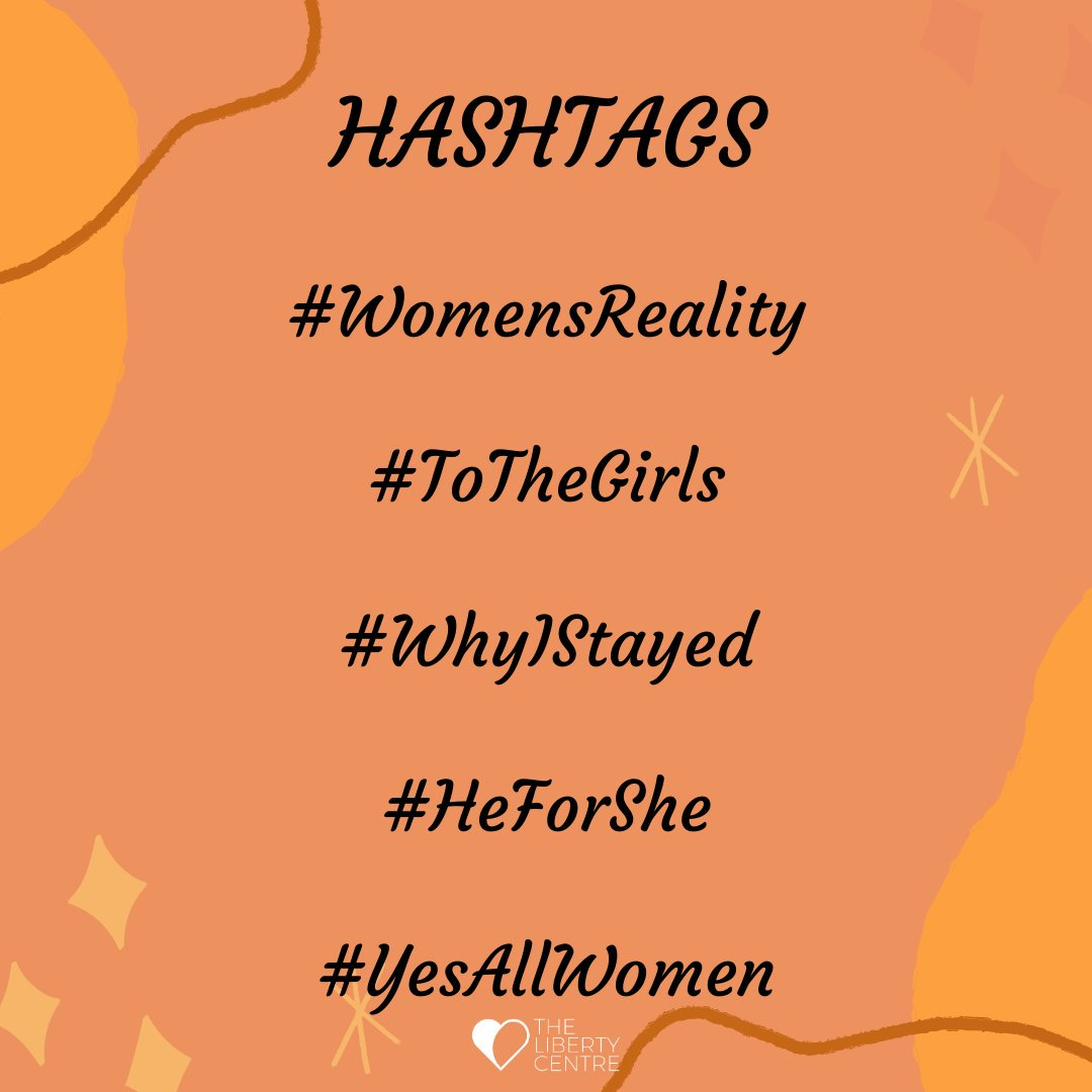 More hashtags for you to join in with from 25th November.  Ways to get involved, tell your stories, talk to us about your thoughts, opinions and experiences. #metoo #timesup #whyididntreport  #16daysofactivism #orangetheworld #unhumanrights #womensreality #heforshe #yesallwomen
