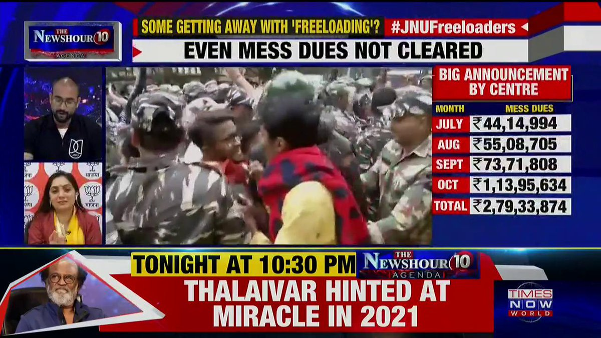Listen in to what @NupurSharmaBJP, Spokesperson, BJP tells Padmaja Joshi on @thenewshour AGENDA. | #JNUFreebies