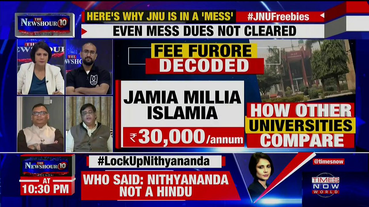 The scholar students of the hostels are allowed to have 1 or 2 month credit for their mess bill: Dr. Dinesh Varshney, Leader, CPI tells Padmaja Joshi on @thenewshour AGENDA. | #JNUFreebies