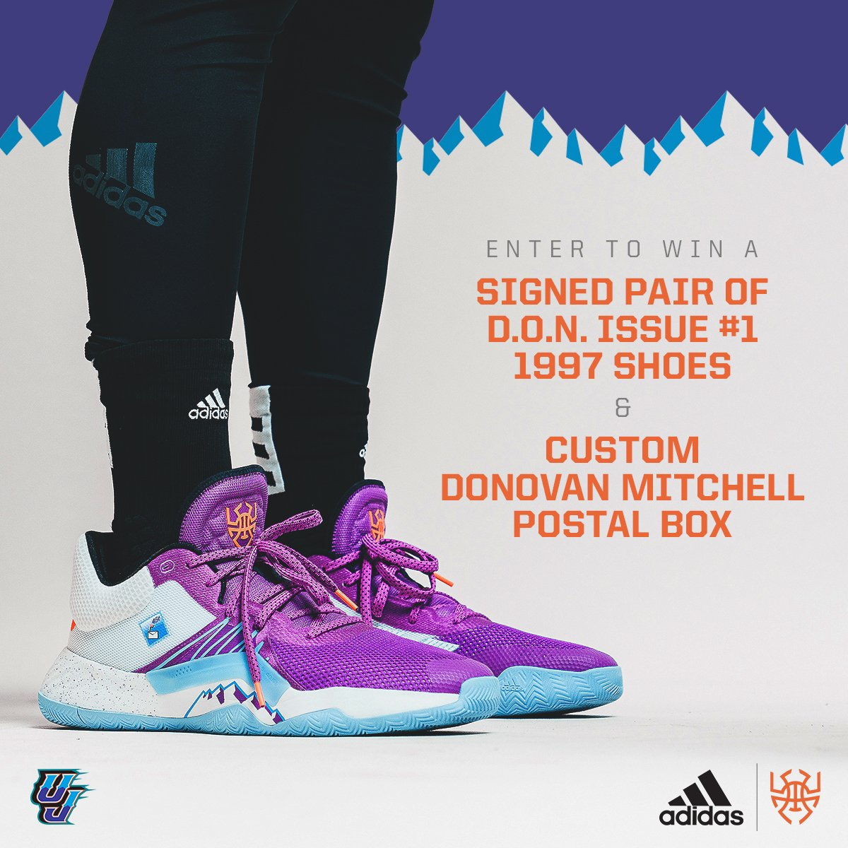 Win a signed pair of D.O.N. Issue #1 1997 shoes and a custom Donovan Mitchell postal box.  To enter: - share your determination over negativity stories on social - tag @utahjazz @adidasHoops @spidadmitchell - use the hashtag #myDONstory