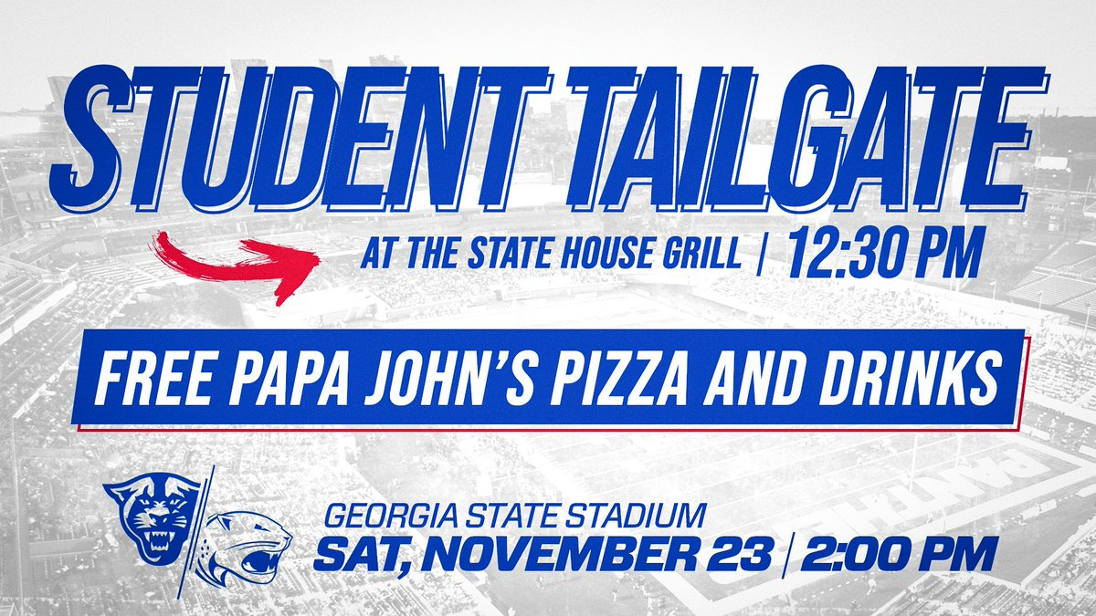 STUDENTS #OurCity #LightItBlue  #LetEmKnow Student Tailgate = FREE    : Sat., Nov. 23 at 12:30pm : State House Grill @GSUStadium  :  http:// GSUStudentTickets.com      <br>http://pic.twitter.com/NUa12hYyta