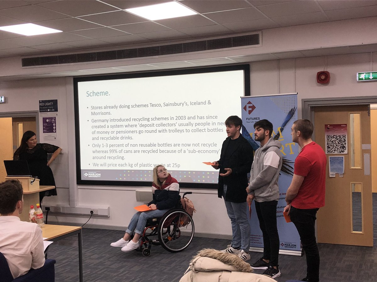 @MarjonBusiness students pitching their innovative ideas to make Marjon campus carbon neutral. Well done guys! @marjonuni