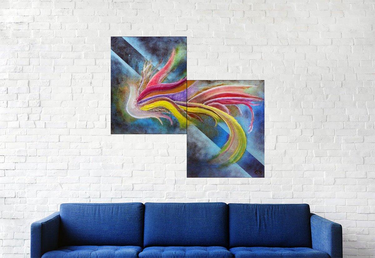 """Bonjour, voici ma dernière création, n'hésitez pas à commenter, liker et partager :) #123 """"Ondes nocturnes"""" Acrylique sur carton toilé, 45x48 https://t.co/xJ7JwKoxQS #abstrait, #acrylique #abstract, #acrylic, #painting, #toile, #canvas, #art,  #fineart, #abstractpainting"""