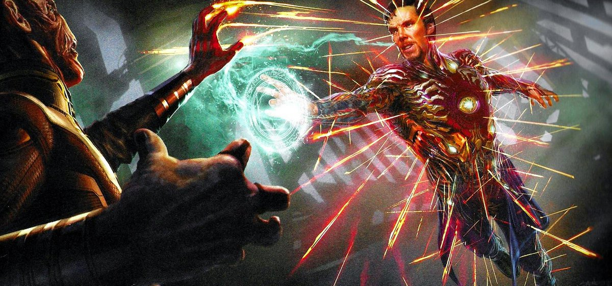 Stephen Strange dons the Iron Man suit in this official unused concept art from #AvengersEndgame! More art here: bit.ly/37ryX8H