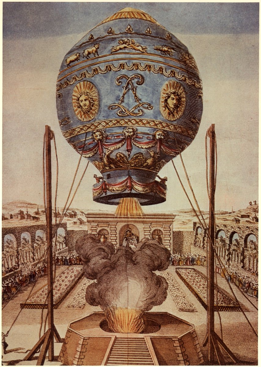 #OTD in 1783 - The first human flight in an untethered hot air balloon was made by two Frenchmen. The balloon, invented by the Montgolfier brothers, travelled about 5.5 miles in 25 minutes. Photo courtesy of @airandspace