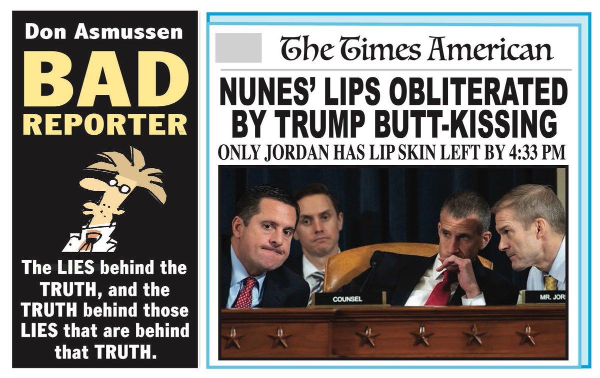 BAD REPORTER 'DEVIN NUNES' LIPS' at   #DevinNunes #Impeachment #TrumpImpeachment #TrumpSycophants