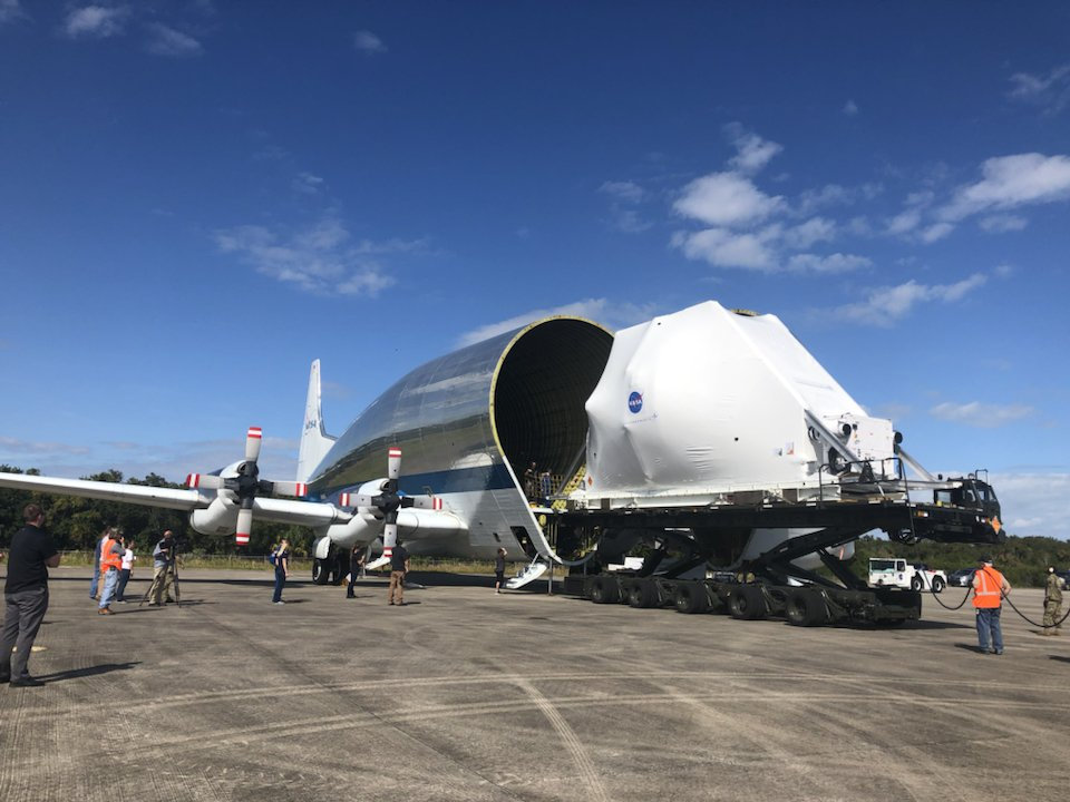 #Artemis I Orion spacecraft is loaded onto @NASAs Super Guppy aircraft at @NASAKennedy. The spacecraft will be transported to @NASAglenn Plum Brook Station Space Power Facility for thermal-vacuum testing.