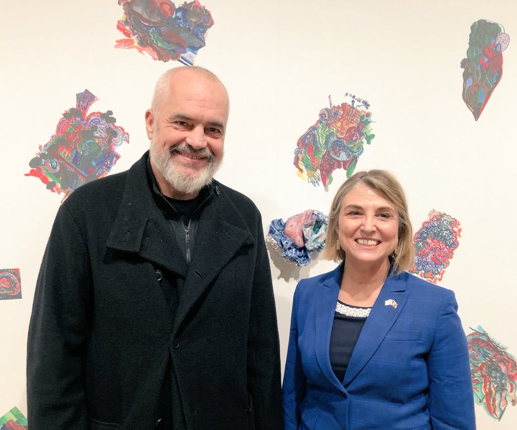 It was an absolute honor meeting Albanian Prime Minister Edi Rama last night as his art exhibition opens today @nevadaart. His pieces include drawings and paintings he creates during his daily briefings. My staff is really looking forward to my new hobby.👩🎨🖌️🖼️