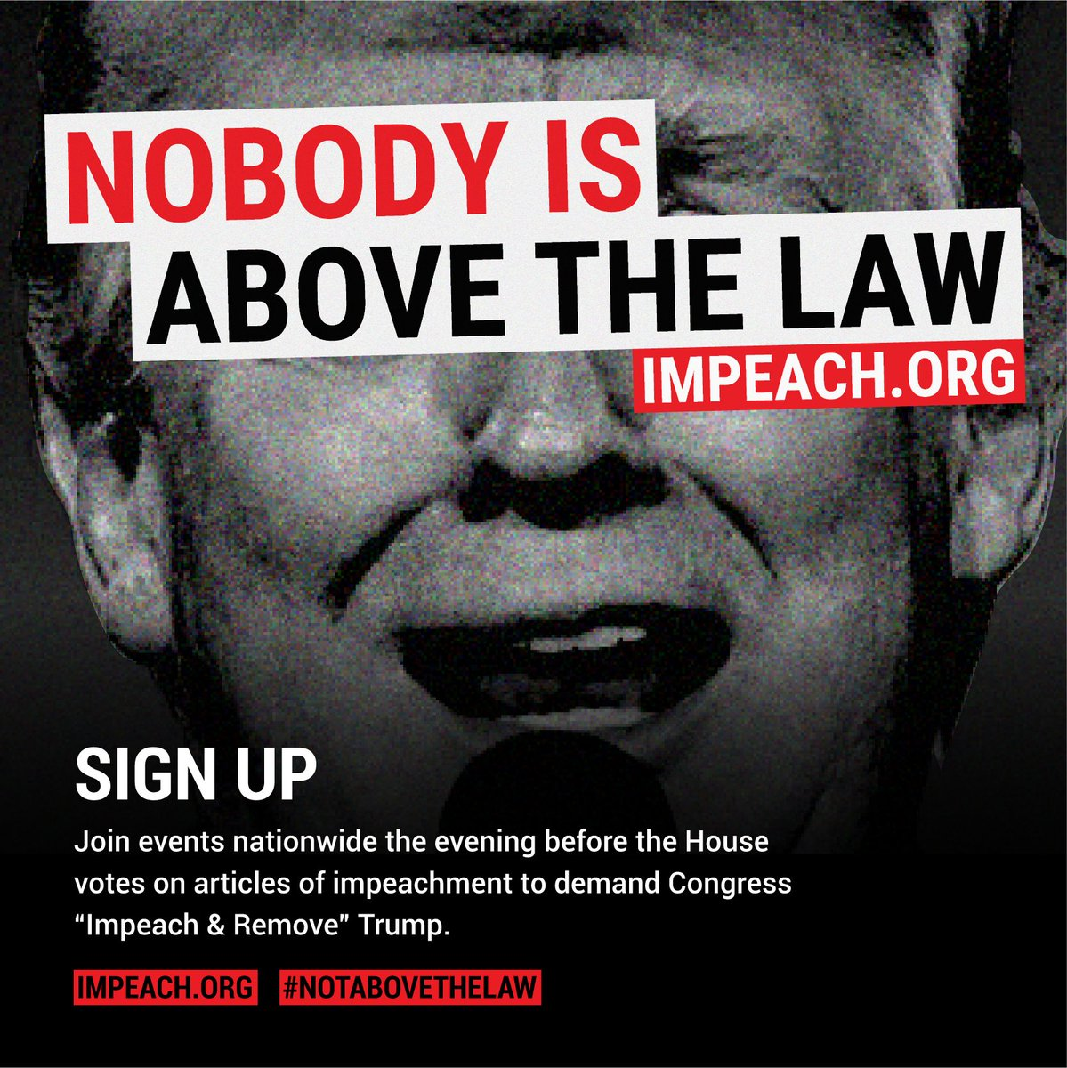 Where will you be the night before the House votes on Articles of Impeachment against Donald J. Trump? There are 250 demonstrations planned around the country- sign up to join or host one! Demand #ImpeachAndRemove now!