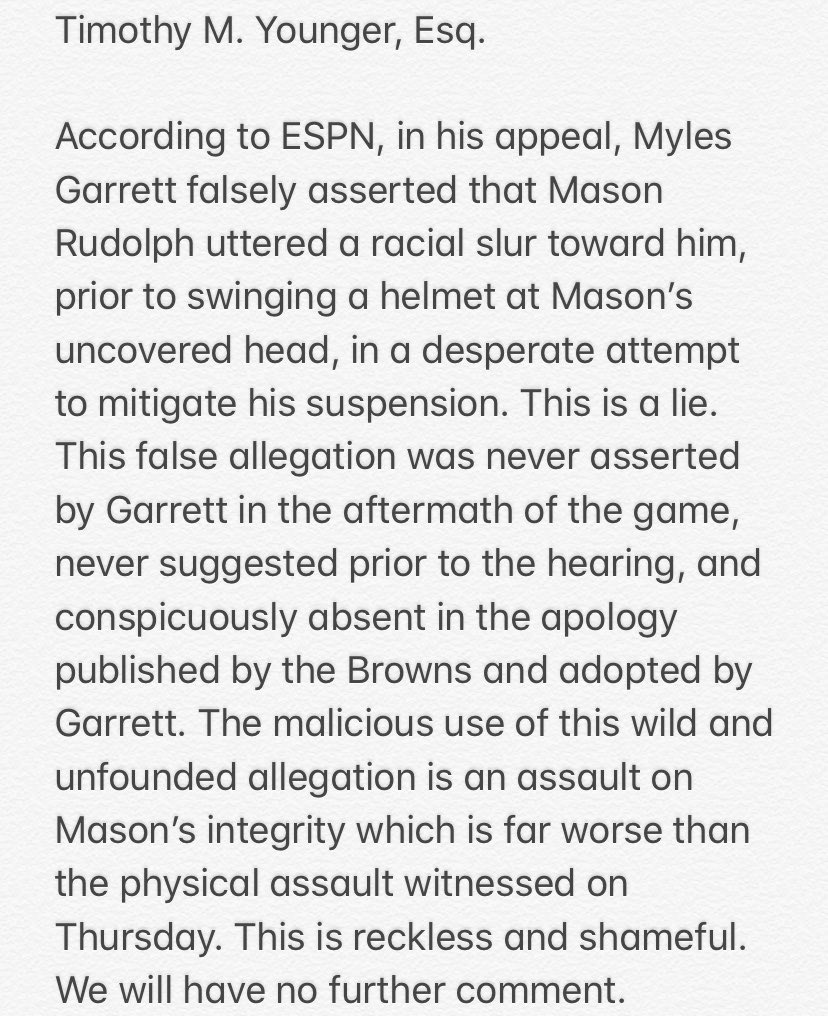 Report: Myles Garrett says Mason Rudolph used racial slur before fight