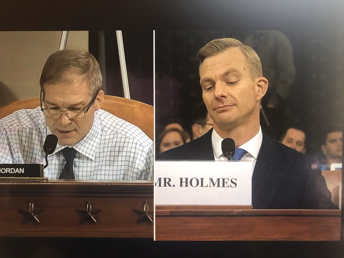 Holmes projects how we all feel when Gym Jordan screams. Also, I suspect his jacket is hiding wherever he left his fucking integrity.#gymjordanprotectspedophiles #GymJordanIsAnIdiot #GymJordanResign