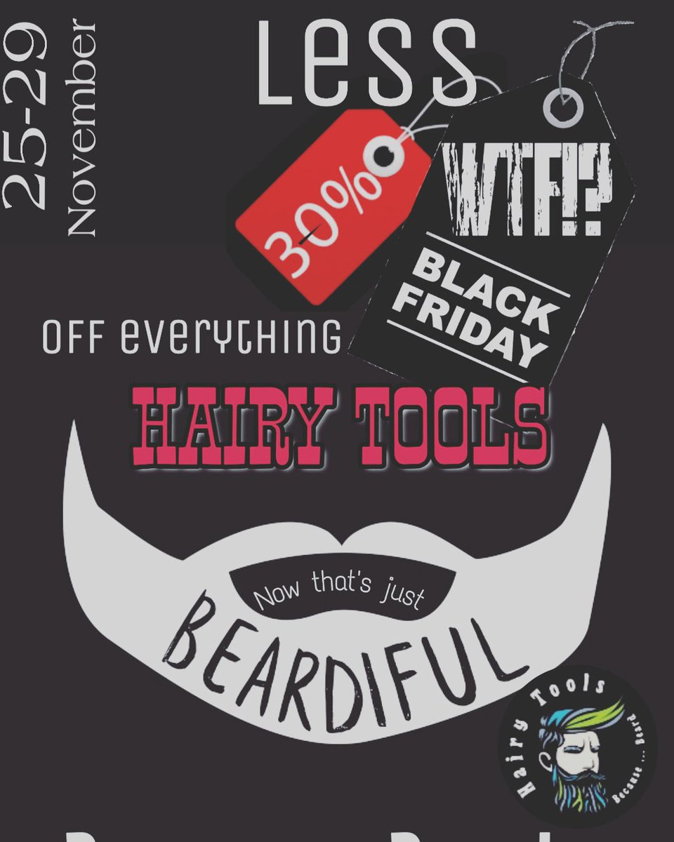 Are you ready for it? Hairy Tools Black friday WTF!? Sale Because ... Beard http://hairytools.co.za  #blackfridday #blackfriddaybeard #becausebeard #beardlife #hairytools #beard #beardlove #bearddomination #beardspic.twitter.com/XvWf8yv0zk