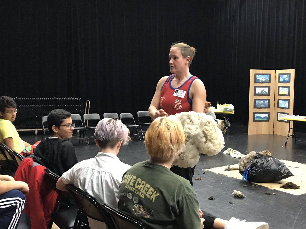 Sheep shearer visits Kenmore sharing her knowledge about wool and sheep with art students. <a target='_blank' href='http://twitter.com/APSArts'>@APSArts</a> Brings felting full circle. <a target='_blank' href='https://t.co/SYi6ZFwyDt'>https://t.co/SYi6ZFwyDt</a>