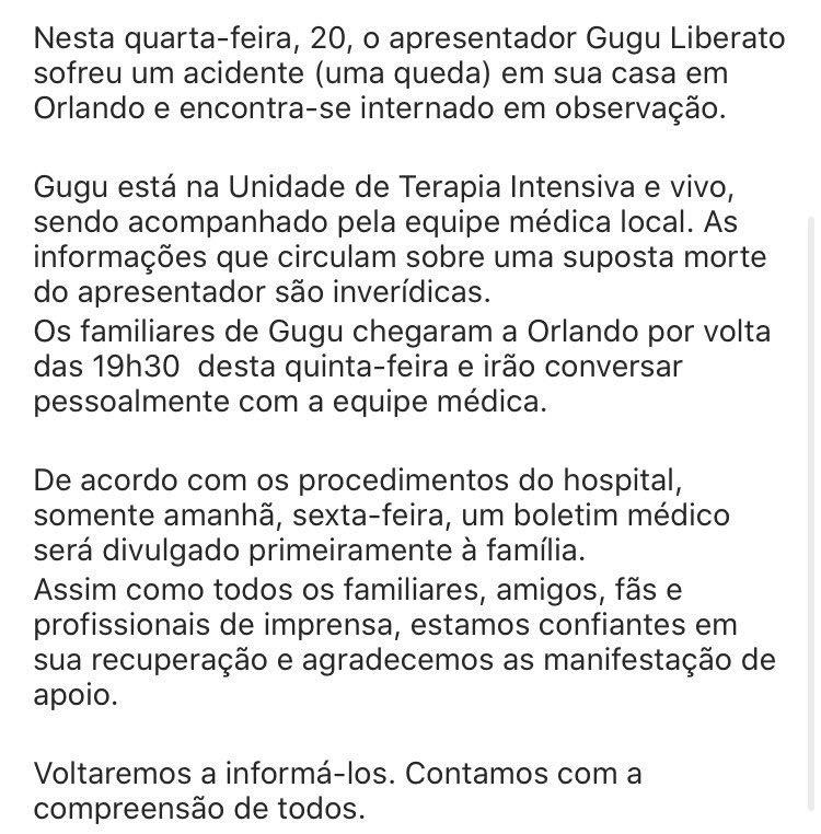 Após grave acidente, Gugu Liberato encontra-se internado na UTI