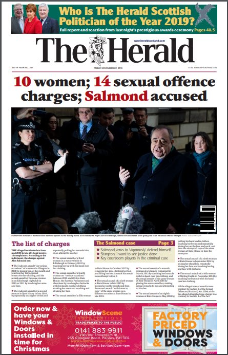 HERALD: 10 women; 14 sexual offence charges; Salmond accused #TomorrowsPapersToday