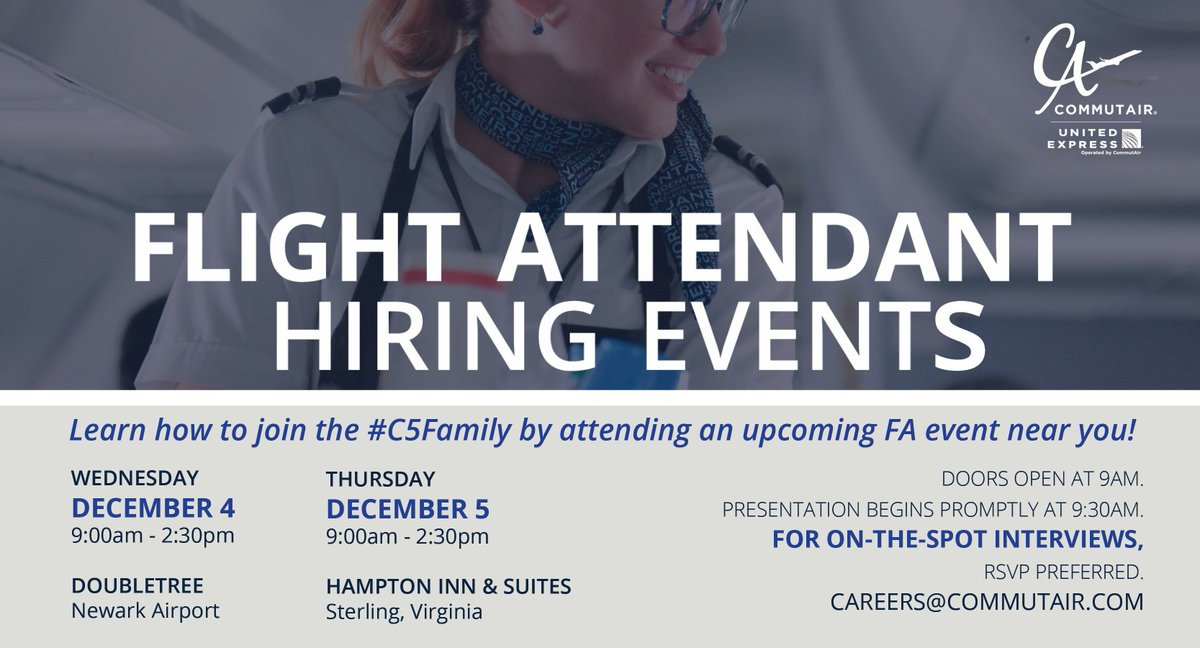 Travel! New People! New Cities! Incredible office views! Mini-shampoos! Theres lots to love about being a Flight Attendant. If you want to know more about joining the #C5Family, check out our two upcoming FA hiring events! RSVP is required. #NowHiring #Careers #Aviation