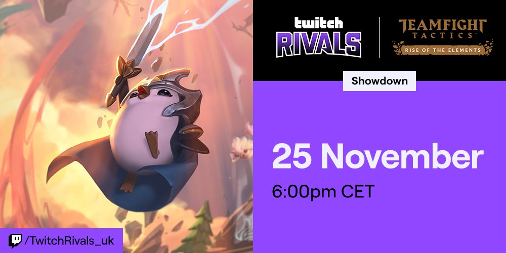 Get ready for #TwitchRivals @loleu Teamfight Tactics Showdown! 8 streamers from around the UK region will face off for a sweet prize and a shot at ultimate victory. The @TFT action begins Monday, Nov. 25 at 6PM CET at twitch.app.link/B1d6Es4FD1