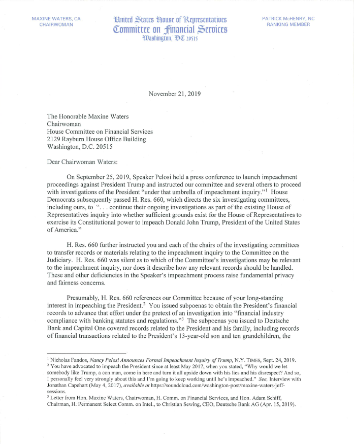 #Today, every Republican committee member is calling on Chairwoman Waters to protect private American citizens' personal financial information from being publicly released in Democrats' #impeachment probe. Read the letter:
