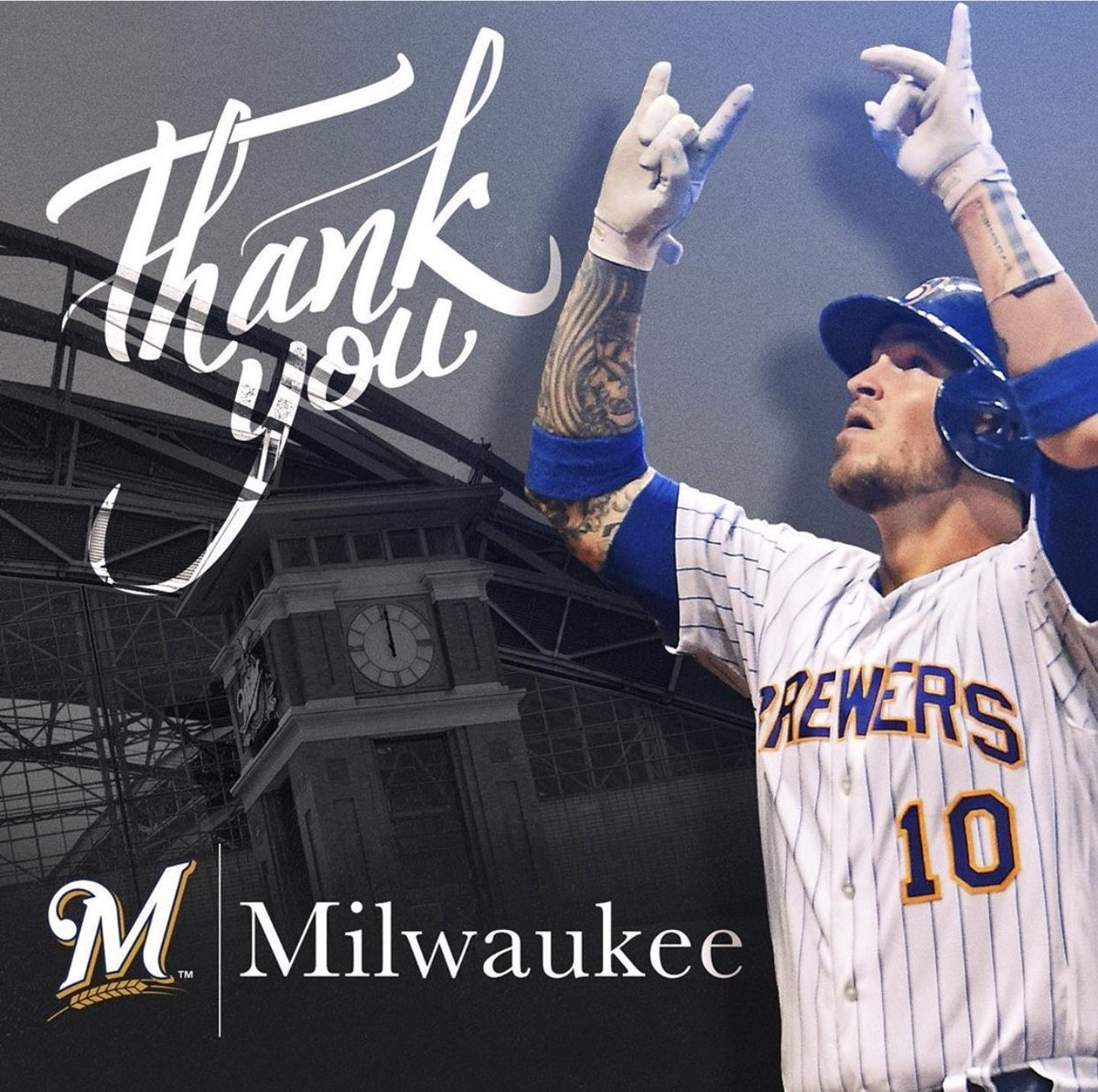 I wanted to thank the Milwaukee @brewers organization and the fans. You guys took my family and I in with open arms and made it a very special year. We are grateful for all the love you showed us. Thank you! 😈😈😈