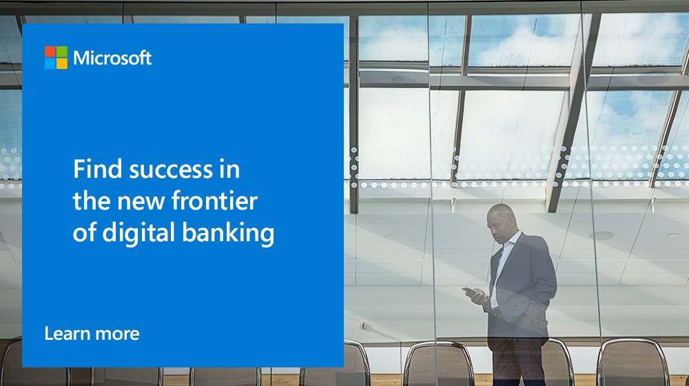 Financial institutions are now optimizing operations and reinvigorating #CustServ experiences with digital #banking tools. Learn more: http://msft.social/nBlJSQ