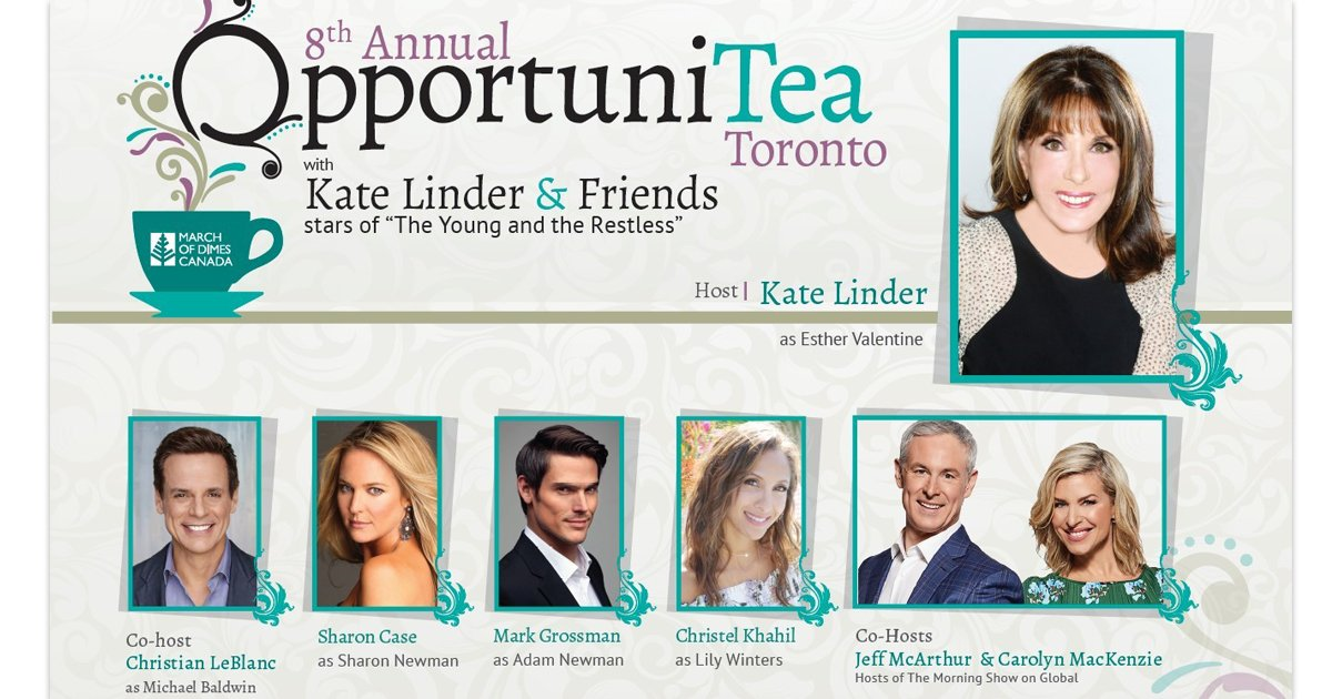 March of Dimes Canada 8th annual #OpportuniTea  Toronto 2019 High Tea event is officially sold out!  We would like to give a warm thank you to all those involved that make this event possible every year! @KATELINDER  and all Y&R stars and @GlobalTV  and so many more! THANK YOU! ❤️