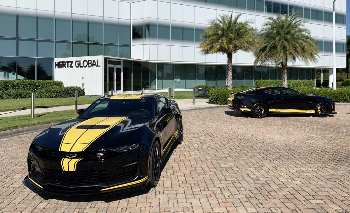 Two of our Hertz-@TeamHendrick limited-edition Camaros are at our Headquarters today in Estero, FL for employees to check out. Perks of the job! #HertzCamaro   These are available to rent at select airport locations. Learn more: