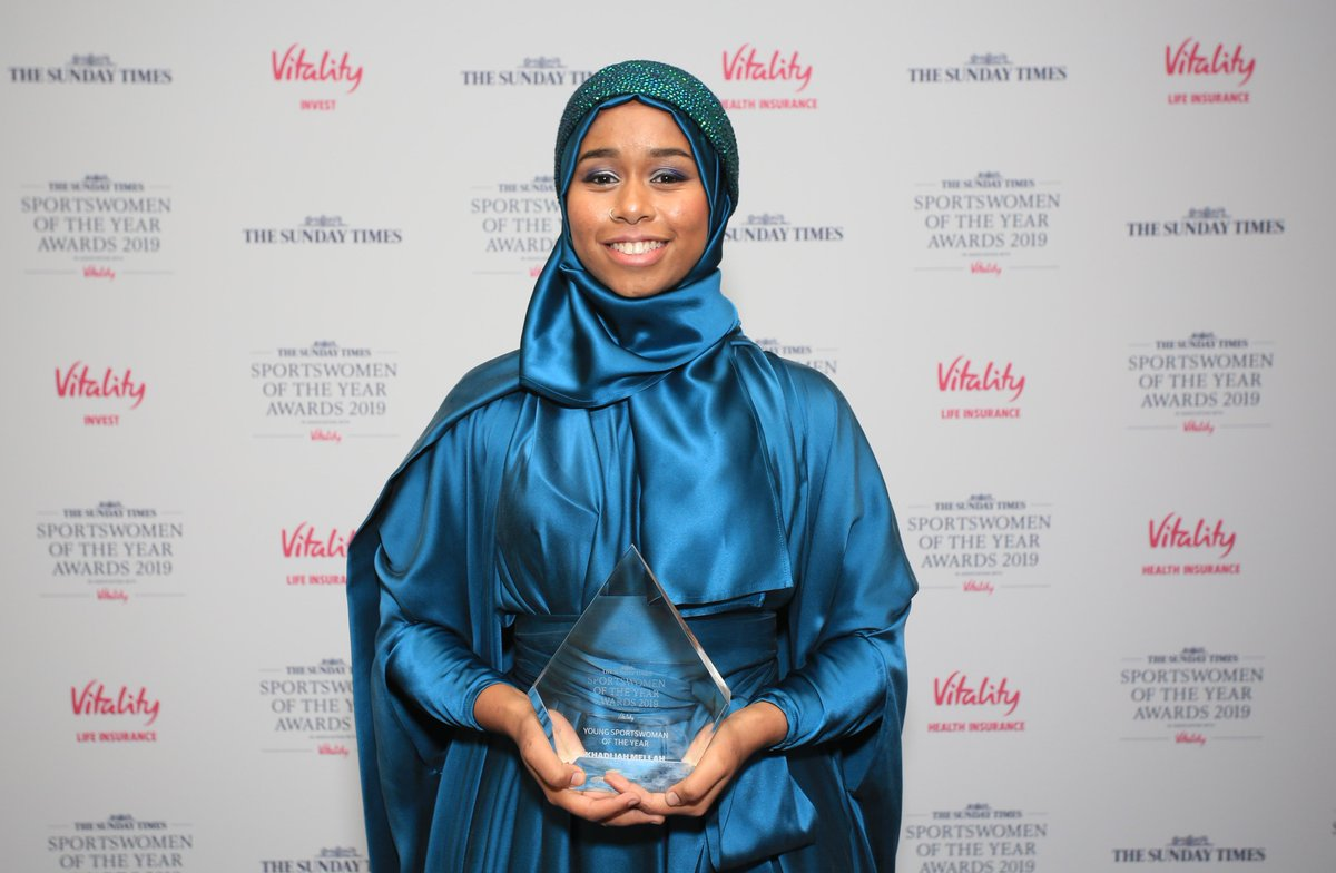 Congratulations to @KhadijahMellah, the winner of the Young Sportswoman of the Year award #SWOTY