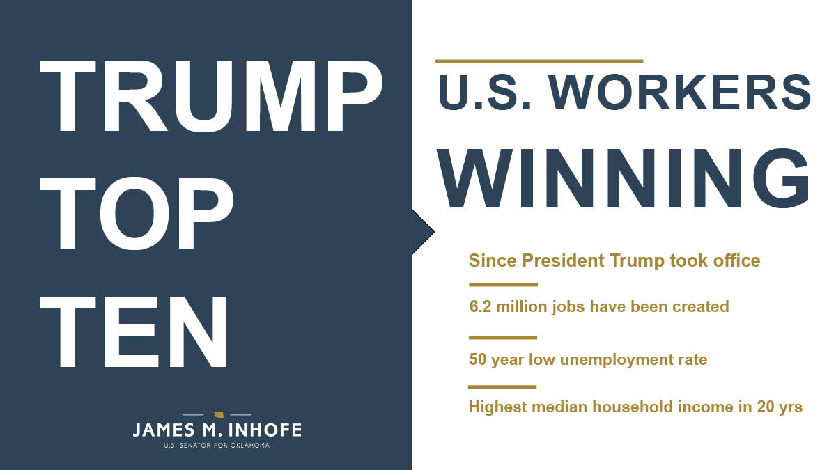 ➡️ U.S. Workers Winning Under @realDonaldTrump, jobs are growing and unemployment is at record lows. Since taking office, 6.2 million jobs have been created and we have the lowest unemployment rate in 50 years. American workers are winning. Plain and simple.