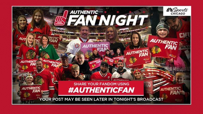 It's #AuthenticFan Night at United Center!Share your photos showing how big of a #Blackhawksfan you are for a chance to be on @NBCSChicago broadcast tonight.