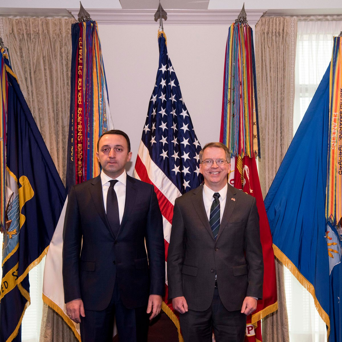 It was an honor to host Georgian Minister of Defense Garibashvili at the Pentagon today. Our strategic partnership has never been stronger and our support for Georgia's independence, sovereignty, and territorial integrity is unwavering! #GharibashviliGe, @ModGovGe