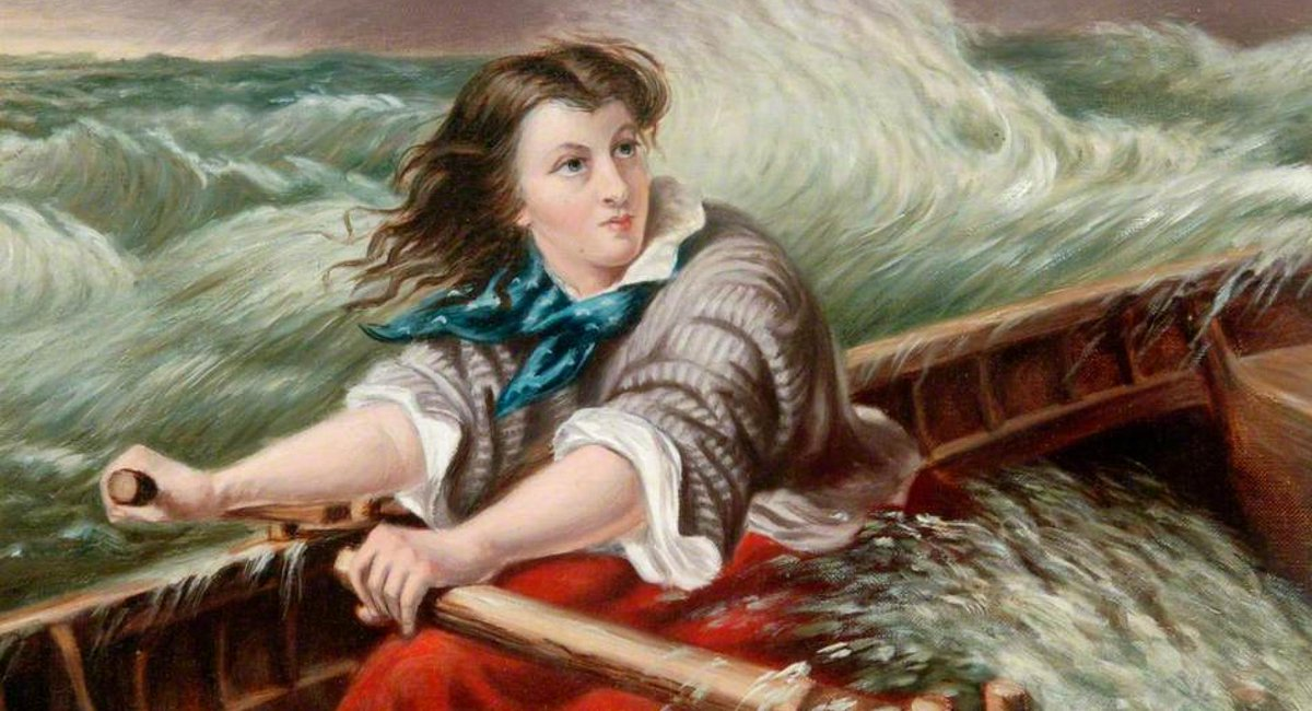 Born on this day in 1815, Grace Darling — an English lighthouse keeper's daughter, famed for participating in the rescue of survivors from the shipwrecked Forfarshire in 1838.