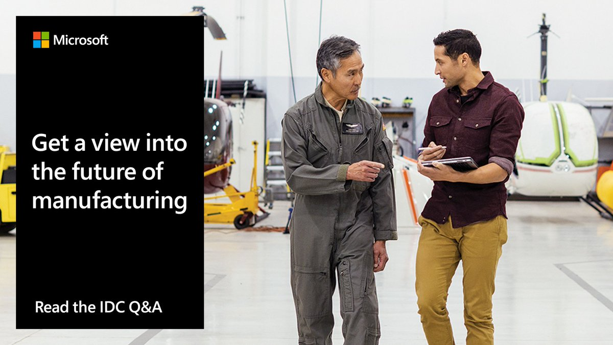 #Manufacturers have an opportunity to leverage a wave of digital technologies as they prepare for the future. But where should they start? Read this Q&A featuring Microsoft and IDC: http://msft.social/hHiWQT